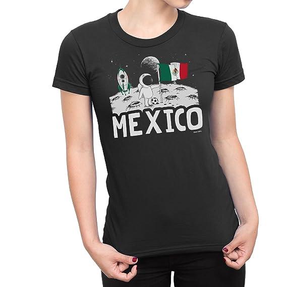 Buzz Shirts Señoras Mexico Camiseta Moon Flag Copa del Mundo 2018 Fútbol Funny Patriotic Mexican