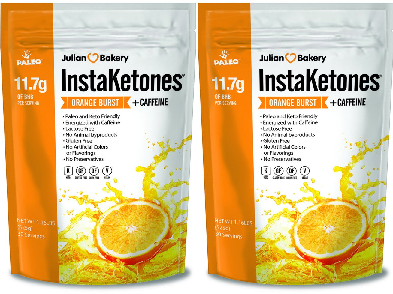 InstaKetones® 11.7g GoBHB® Per Scoop +Organic Caffeine (Orange Burst) (2 Pack) (+Caffeine) (60 Servings) Exogenous Ketones by Julian Bakery