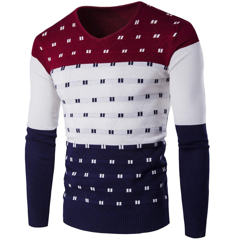 Gndfk Herbst und Winter Farbe Farbe warme Pullover Pullover v - Pullover und männer v,Rotwein,XXL