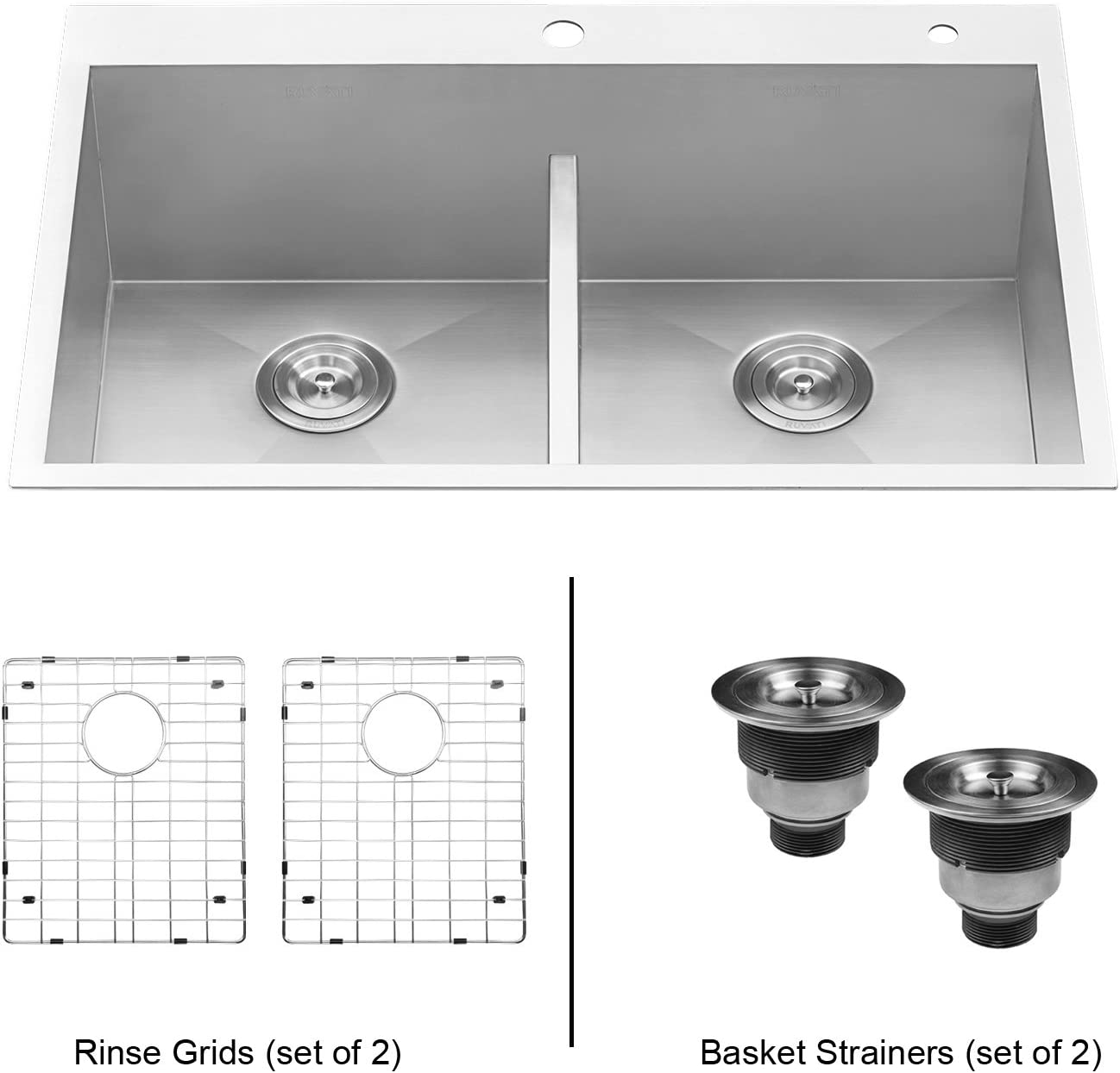 Ruvati 33-inch Drop-in Low-Divide Zero Radius 50 50 Double Bowl 16 Gauge Topmount Kitchen Sink – RVH8055