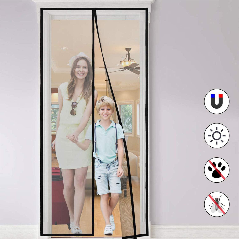 Cortina Mosquitera Magnética para Puertas, Anti Insectos Moscas y Mosquitos con Cinta de Botón de Nylon Adhesiva, Sala de Estar, Balcón, Puerta, Fácil de Montar sin Taladrar (90 * 210cm)