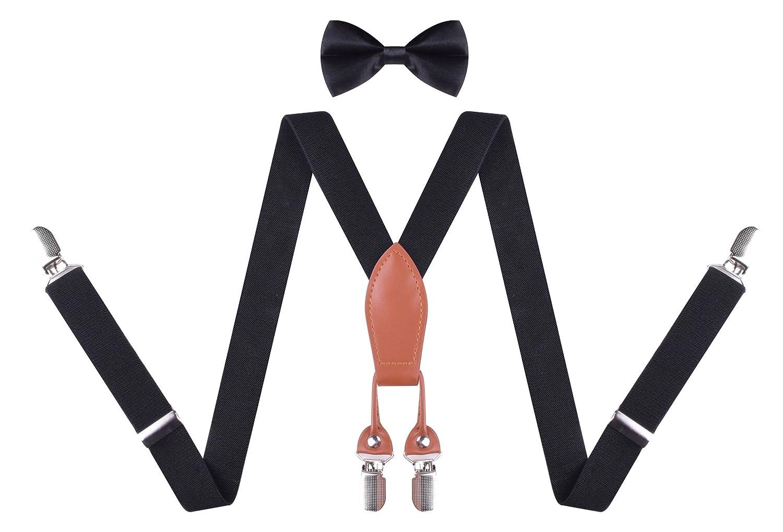 Toddler Boys Suspenders and Bow Tie Set Adjustable Suspender Kids for Wedding