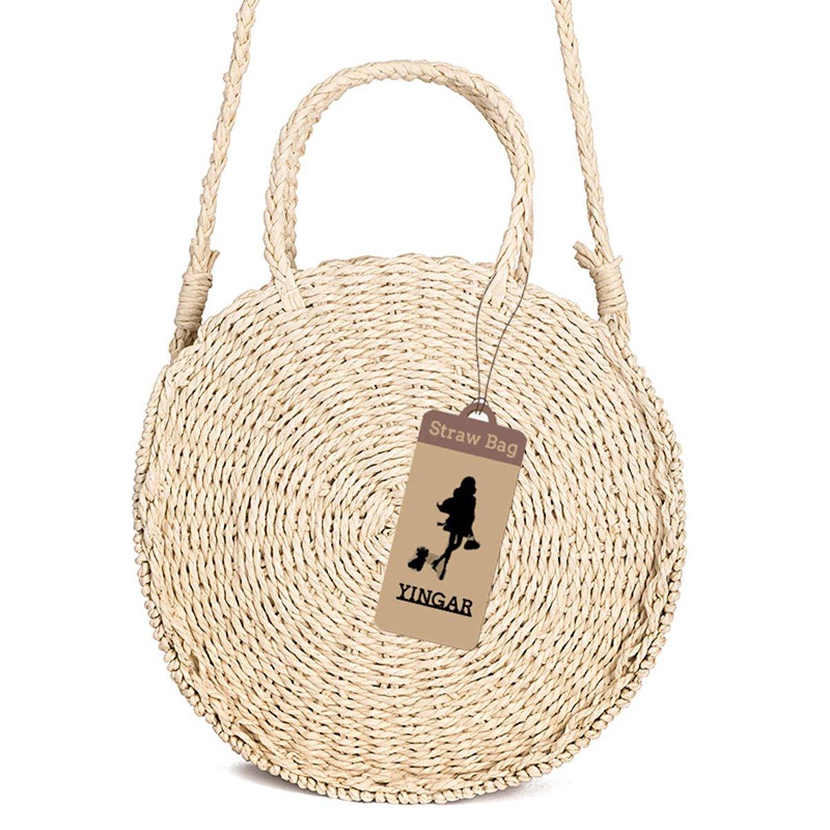 Round Straw Bag Rattan Crossbody Bag Handwoven Natural Summer Beach Shoulder Bag for Women by YINGAR