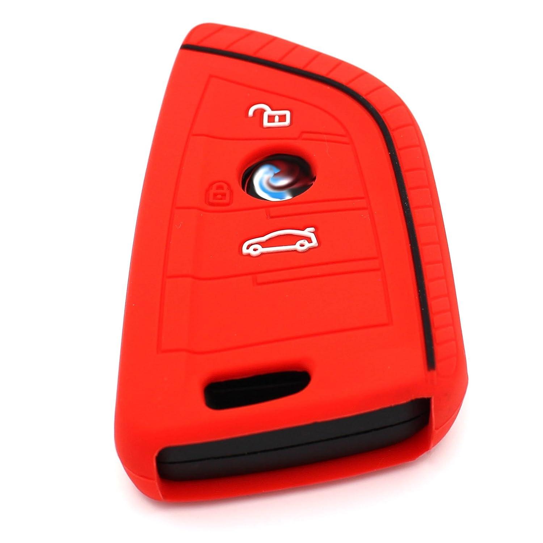 Coque de Protection BD pour Cl/é 3/Boutons Cl/és de Voiture en Silicone Cover de Finest Folia .Schwarz Blau