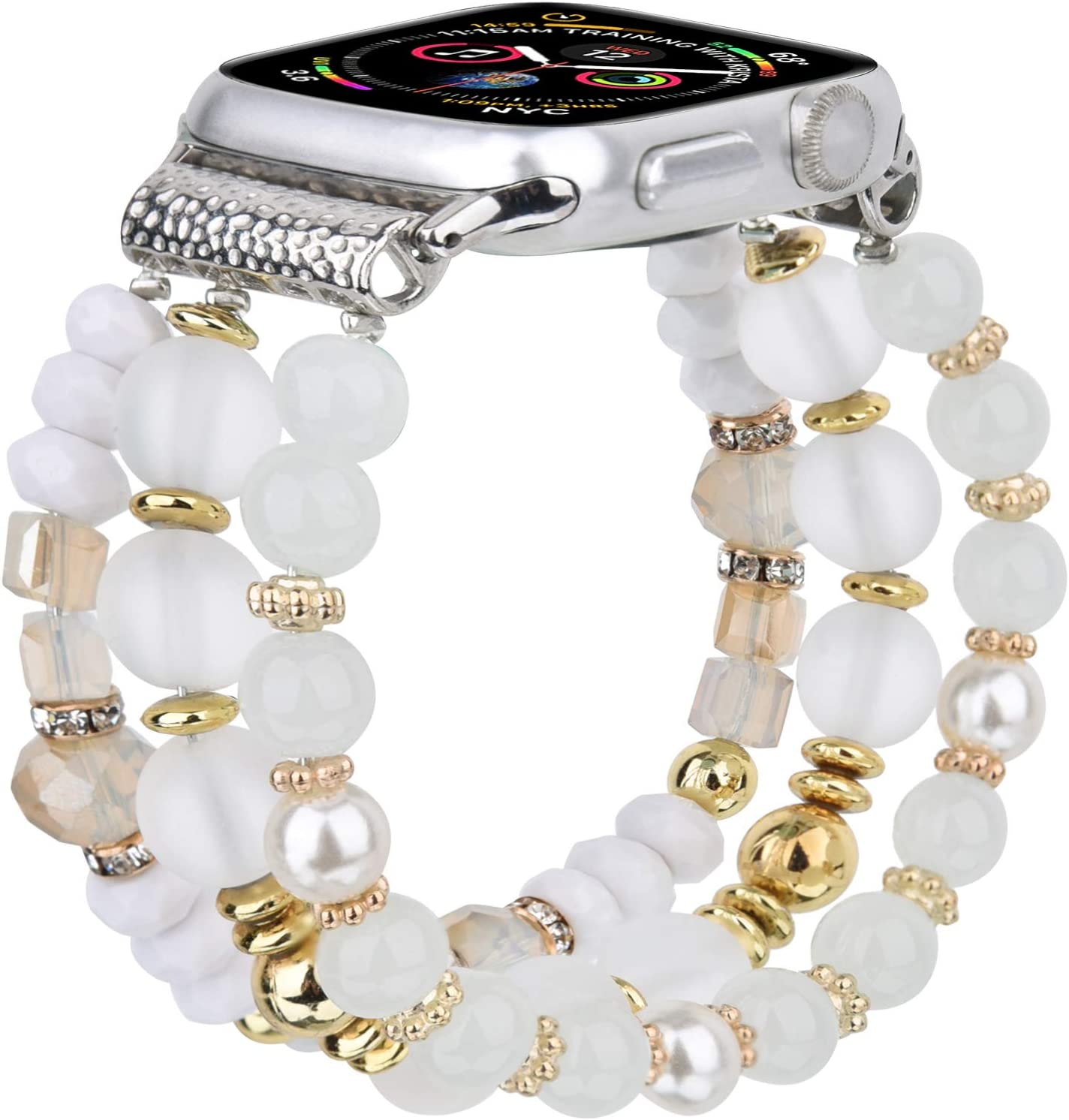 TOROTOP Bracelet Compatible with 44mm Apple Watch Band 42mm Series 5 6 Women Girl, Cute Handmade Fashion Elastic Beaded Strap Replacement Compatible for iWatch Series 6/5/ 4/3/2/1 (Matte white)