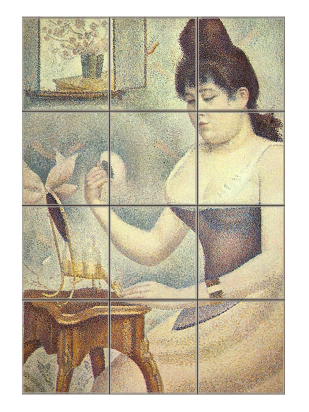 The Woman With The Powder Puff (Seurat) Vertical Tile Mural Satin Finish 24''Hx18''W 6 Inch Tile by Style in Print