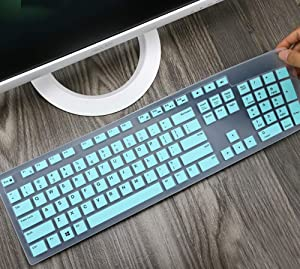 Silicone Keyboard Protector Skin Cover Compatible with Dell Desktop KM636 KB216 Keyboard, Dell Optiplex 5250 3050 3240 5460 7450 7050, Dell Inspiron AIO 3475 3670 3477 All-in one Desktop Keyboard Mint