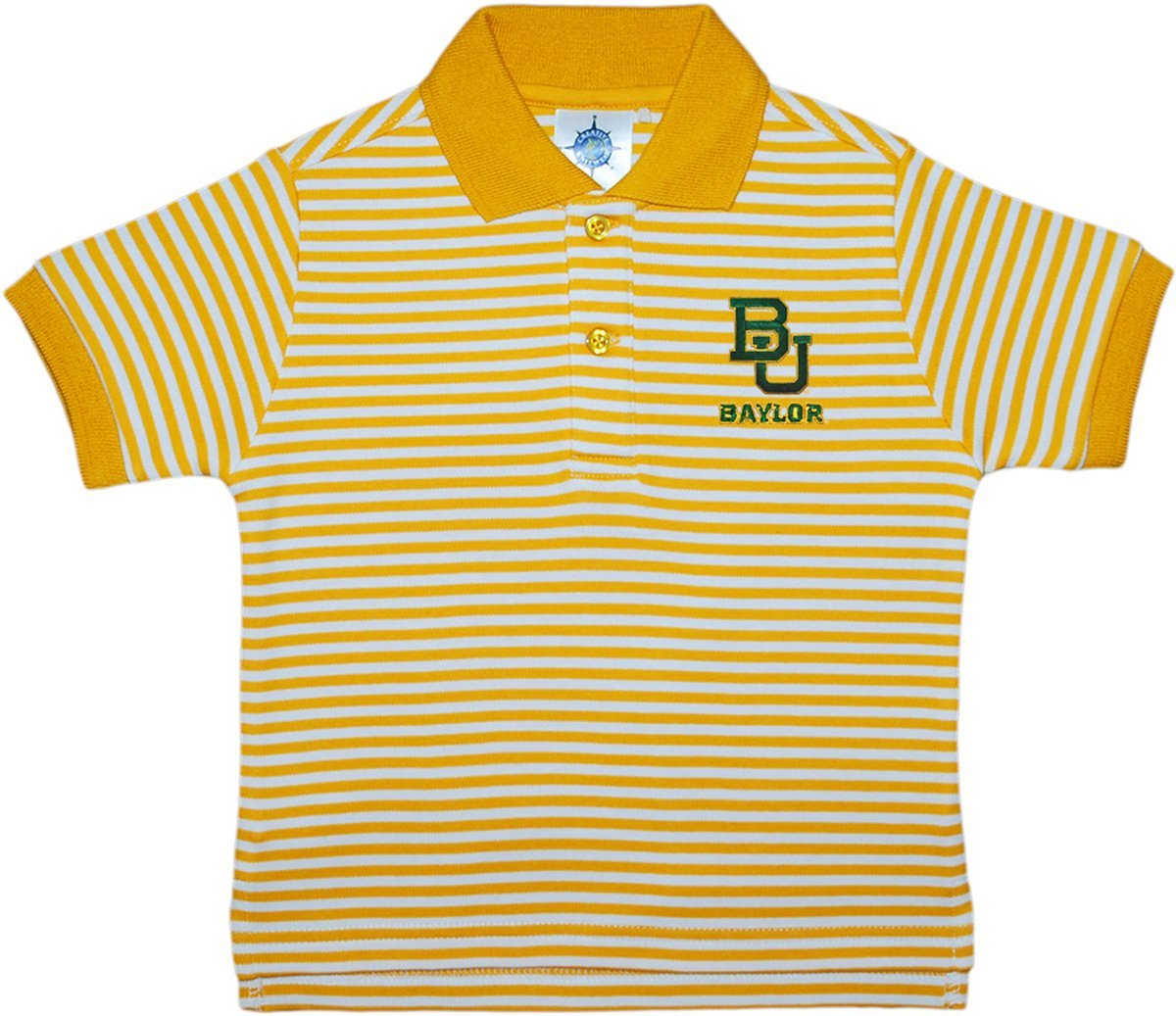 Creative Knitwear Baylor University Bears Striped Polo Shirt Gold/White by Creative Knitwear