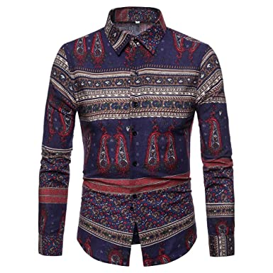 4925c2815760 Vintage Button Down Shirts for Men Indian Floral Print Long Sleeve Collar  Slim Fit Dress Shirt Casual Tops at Amazon Men's Clothing store: