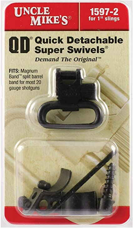 """Uncle Mike/'s Quick Detach Forend Band Style Swivels//Machine Screw Base 1/"""" Swivel"""