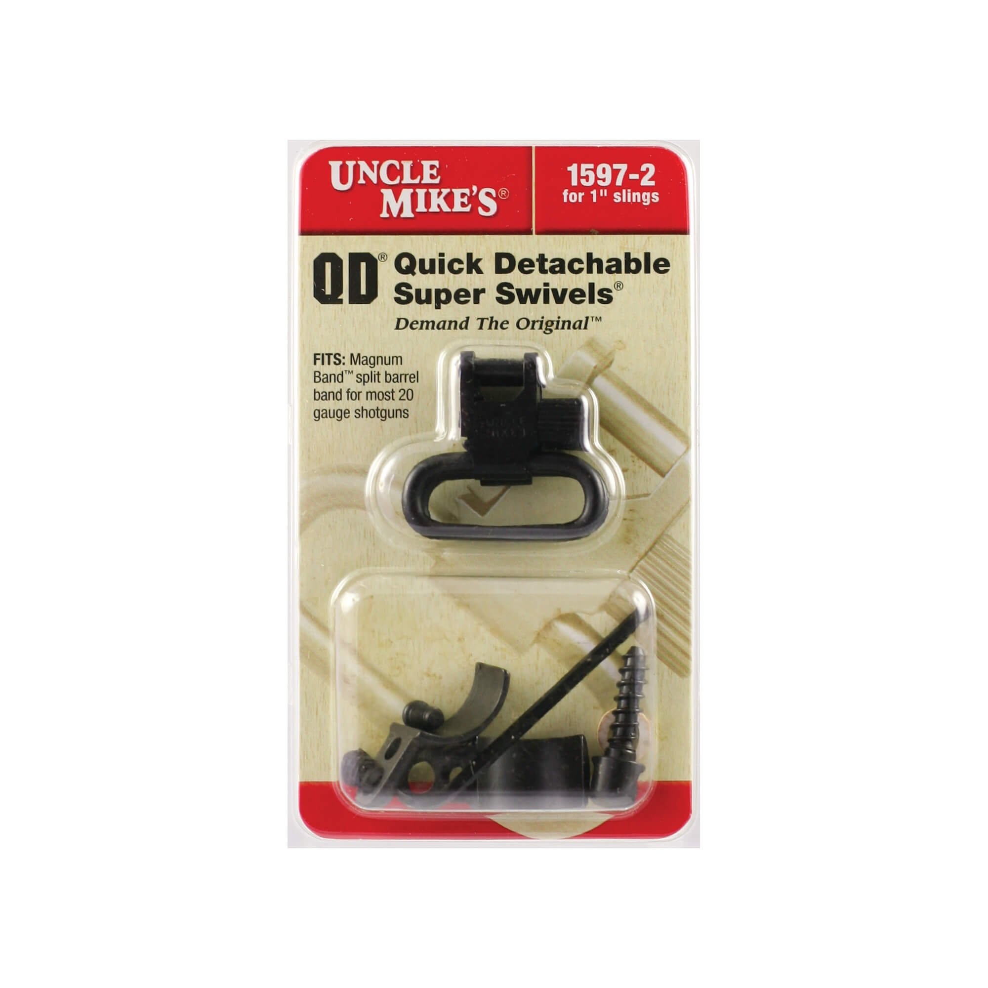 Uncle Mike's Quick Detachable Magnum Band Sling Swivels for Single and Over/Unders.700-.750-Inch Diameter (Blued, 1-Inch Loop)