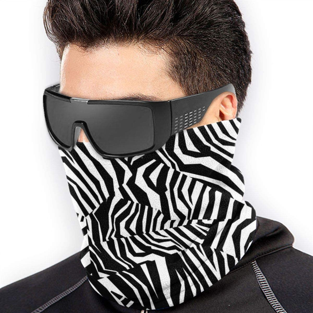 Seamless Animal Skin Texture of Zebra Unisex Winter Fleece Neck Warmer Gaiters Hairband Cold Weather Tube Face Mask Thermal Neck Scarf 9.8x11.8 inch