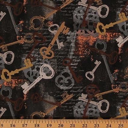 Cotton Skeleton Keys Passkey Vintage Metal Black Script Cursive Font Cotton  Fabric Print by the Yard (40039M-1)