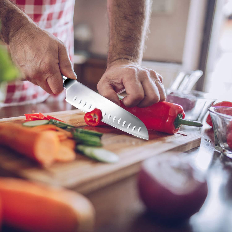 SHAN ZU Cuchillo Santoku Cuchillo de Cocina Acero Inoxidable
