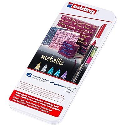 Edding 4-1200 - Caja 6 rotuladores con punta de fibra, surtido, colores metalicos: Oficina y papelería