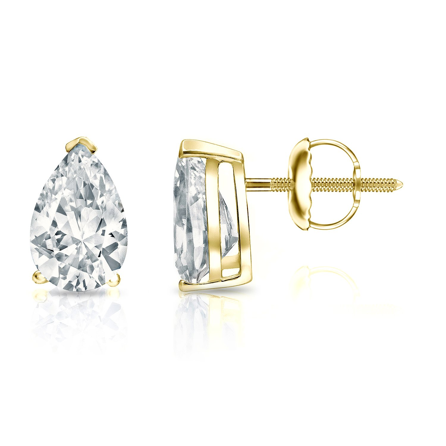 14k Yellow Gold Pear-cut Diamond SIMULANT CZ STUD Earrings V-End Prong(2ct,Excellent Quality)