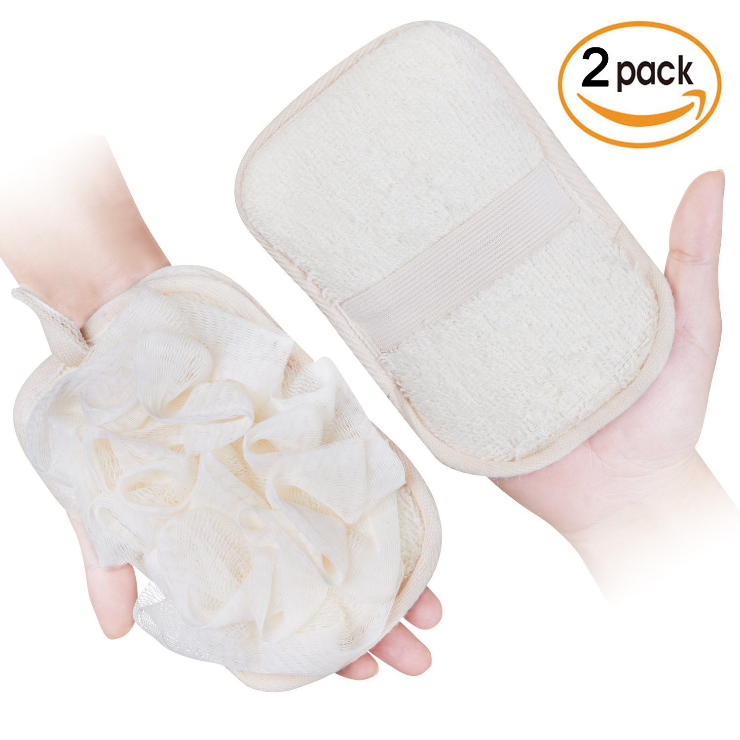 mikimini Bath Mitt for Women, Bath Pouf Mesh Brushes 2 Packs Set | Loofah Sponge & Exfoliating Pad 2 in 1 Professional Design | Exfoliating Gently with the Elastic Hand Strap or Wearing the Mitten
