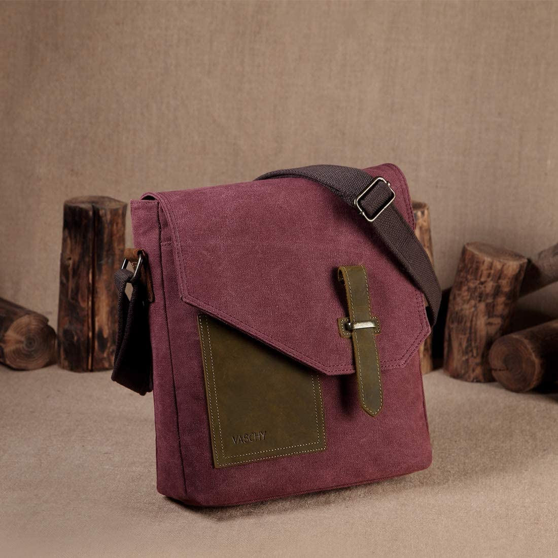 Small Messenger Bag,VASCHY Vintage Canvas Leather Lightweight Crossbody Bag