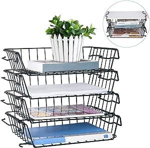 Stackable Letter Trays, 4 Tier Multifunctional Desktop Organizer & Underdesk Hanging Organizer, Metal Paper Tray Desk Organizer for Office,Home,School,Stores,Black(Patent Pending)