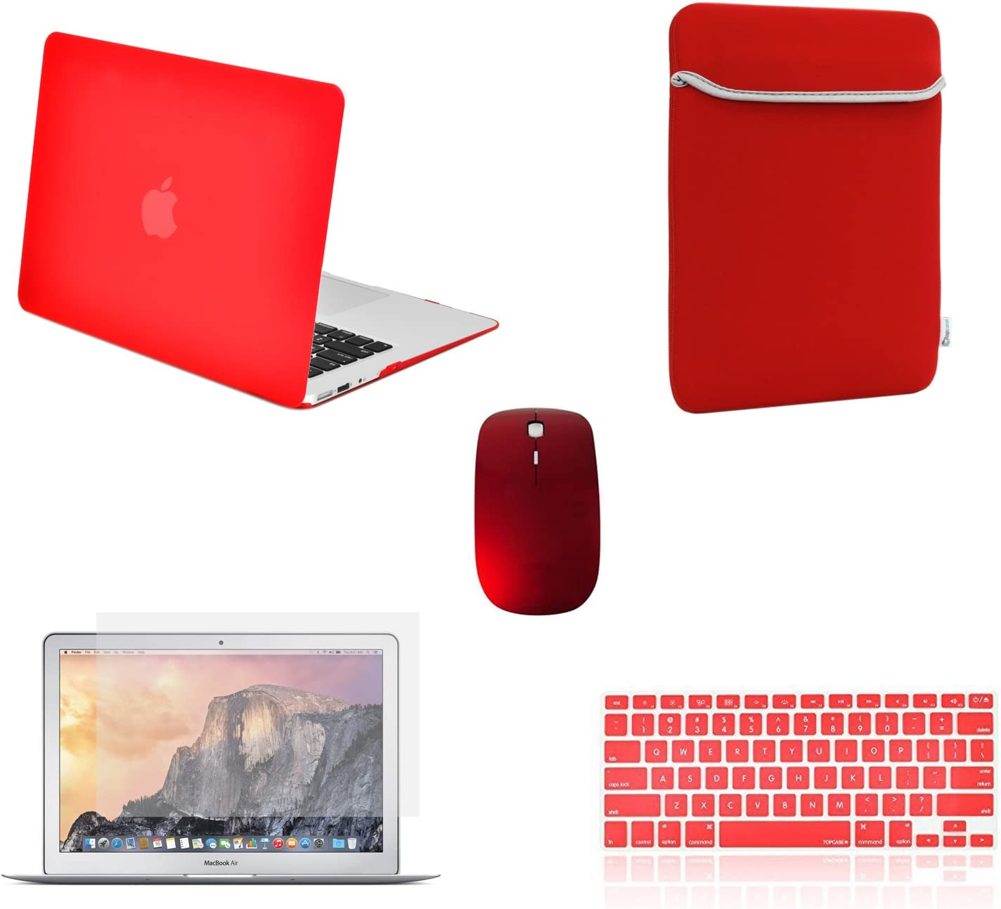 "TOP CASE - 5 in 1 Omni Bundle Rubberized Hard Case, Keyboard Cover, Screen Protector, Sleeve, Mouse Compatible MacBook Air 13"" A1369 & A1466 (Older Version, Release 2010-2017) - Red"