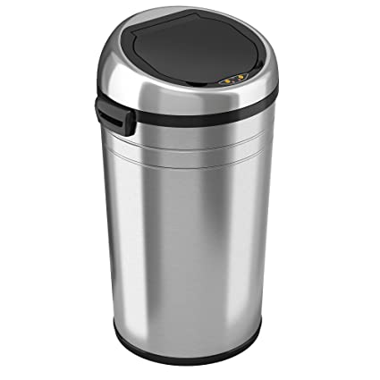 Amazon Com Itouchless 23 Gallon Commercial Size Touchless Sensor Trash Can With Odor Control System Stainless Steel 87 Liter Round Automatic Garbage Bin