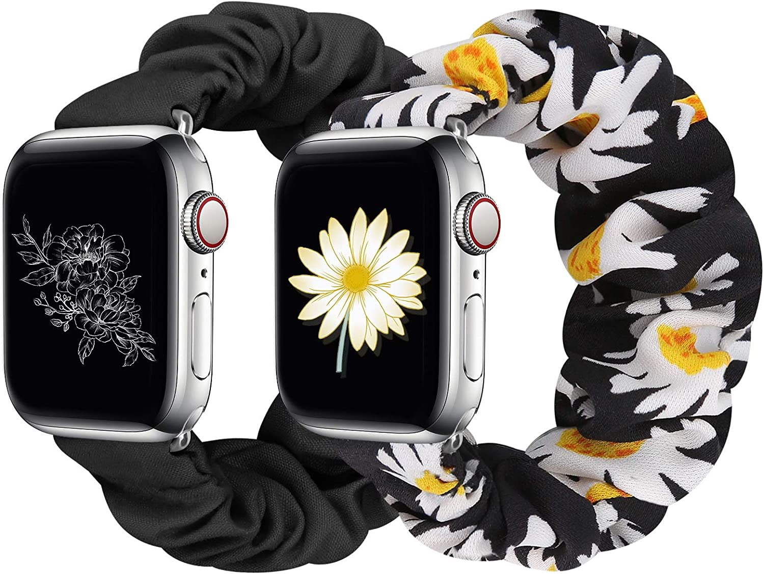 Huishang 2 PCS Scrunchie Apple Watch Band for Women, 38mm 40mm 42mm 44mm Apple Watch Bands, Cute Apple Watch Bands for Series 5/4/3/2/1 (S-38/40 Black+Daisy)