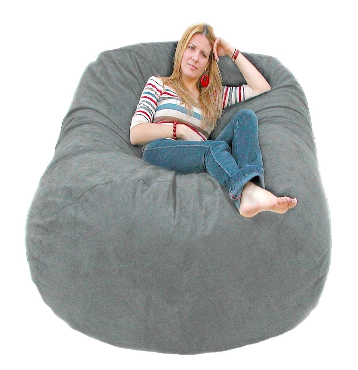 Giant bean bag chairs for adults - Amazon Com Cozy Sack 6 Feet Bean Bag Chair Large Grey Kitchen Dining