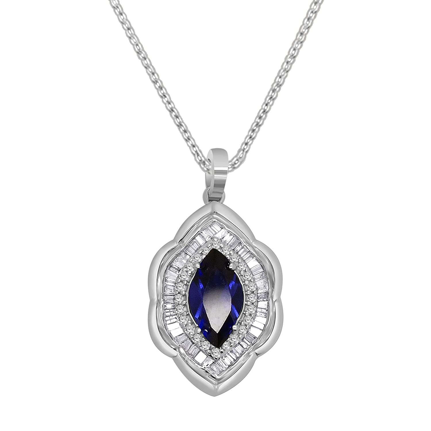Marquise Shape Sim Blue Sapphite /& 0.30 Ct Diamond Cluster Pendant In 14K Solid Gold