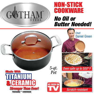 Gotham Steel 5-qt Stock Pot with Lid from Collections Etc.