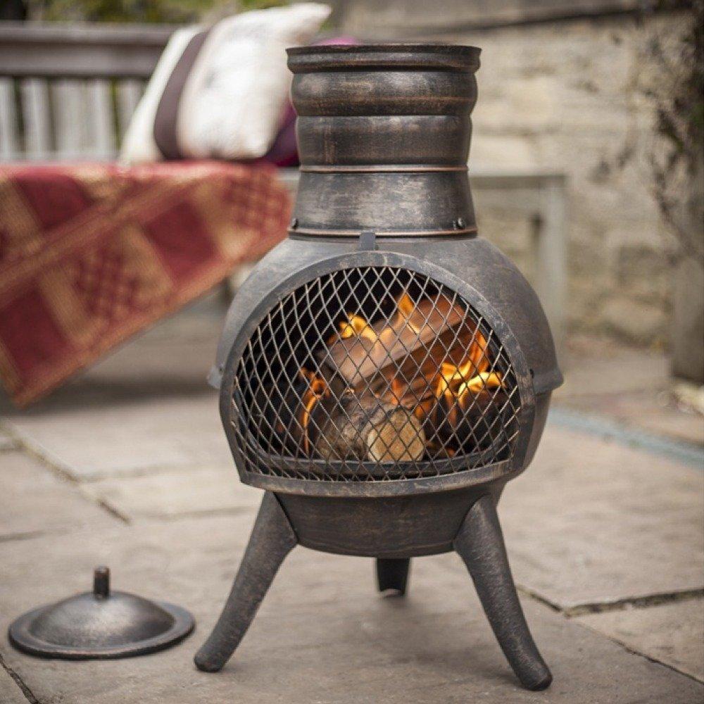 la hacienda squat bronze effect cast iron steel mix chiminea patio