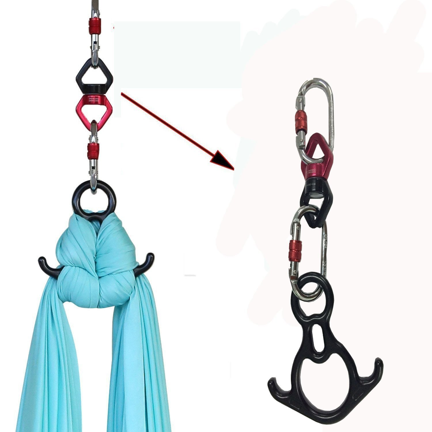 F.Life Aerial Silk Dance Rigging Hardware Kit Rescue Figure 8 & Rope Swivel & Steel Carabiners by F.Life (Image #2)