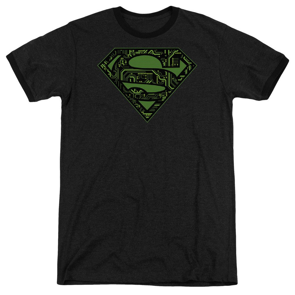 Circuits Shield Adult Ringer T Sons of Gotham Superman Shirt M
