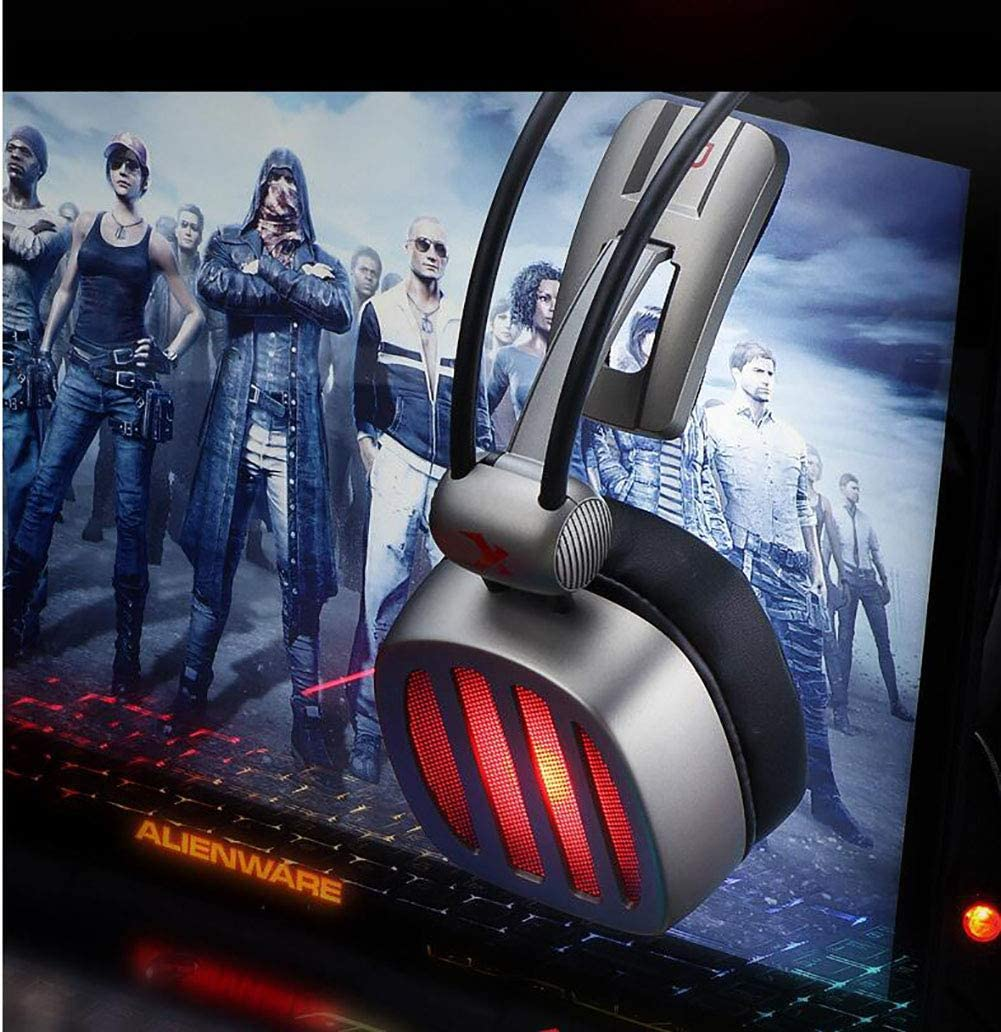 Stereo Surround Sound Gaming Headset Furnace Breathing Lamp,Compatible with PC//PS4//Xbox,Usbcomputerversion JXH Gaming Headset,with 50Mm Drivers
