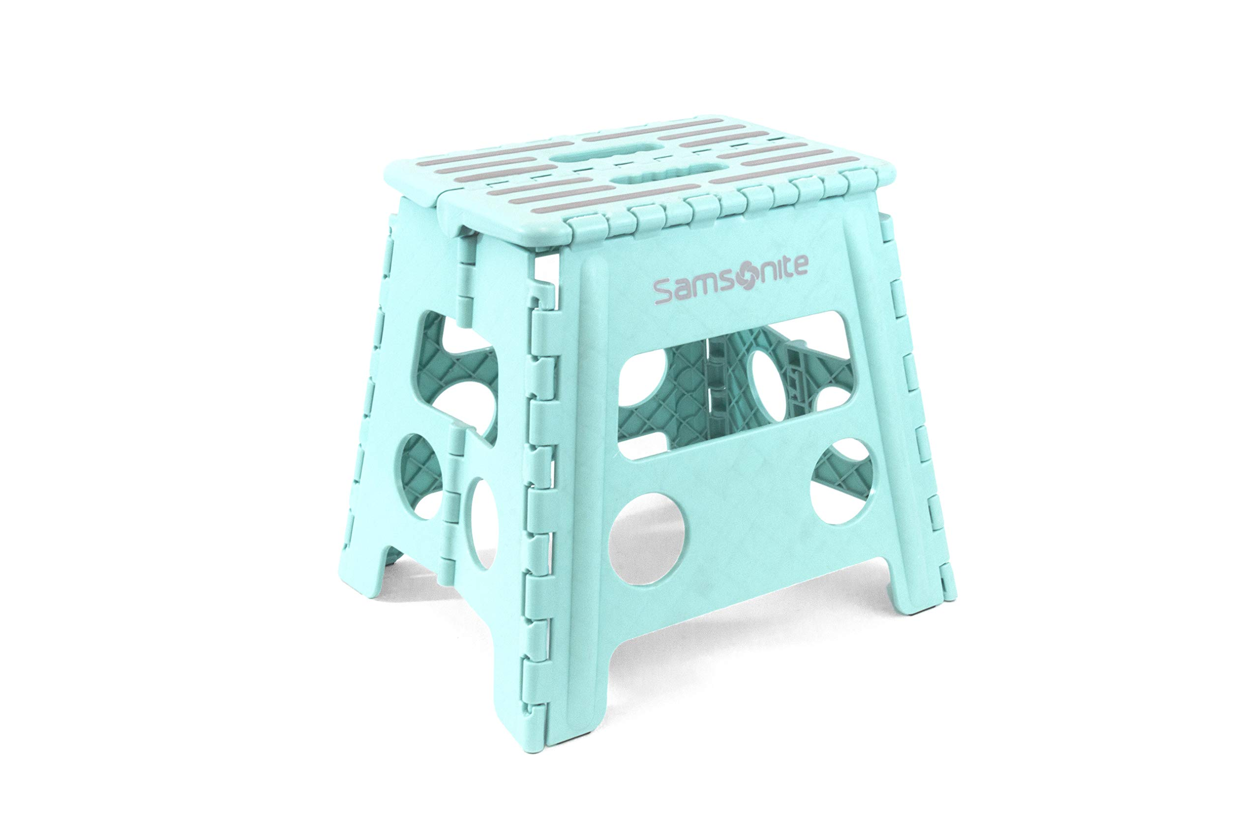 Samsonite Folding Step Stool in Aqua/Teal - 13'' High Double Handle - Heavy Duty - Holds up to 330 lbs