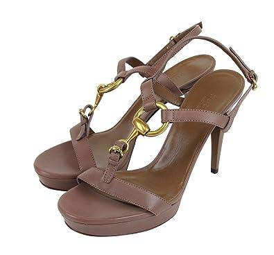 93f5f8b32970 Gucci Women s Mauve Leather Platform Sandal with Horsebit 310369 6820 (G  39.5   US 9.5
