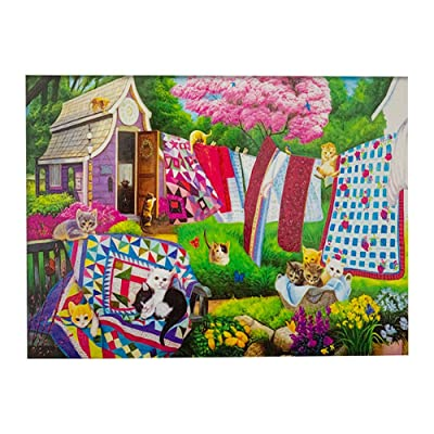 500 Pieces Large Jigsaw Puzzles for Adults, Spring Flowers 18×11 Inch Puzzles, Colorful Difficult Puzzle Art for Men and Women (Cat): Toys & Games