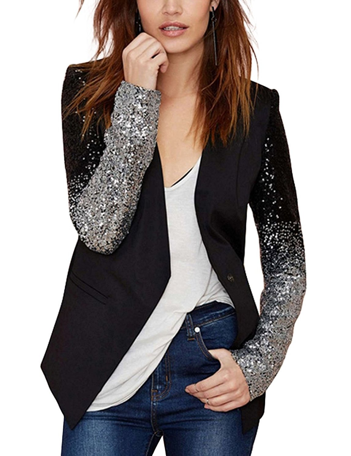 RICHKOKO Women Long Sleeve Patchwork Sequins V-Neck PU Collar Button Jacket(L,Black)