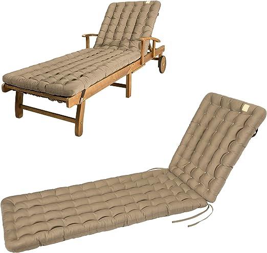 HAVE A SEAT - Cojín para tumbona (200 x 60 x 8 cm), marrón dorado: Amazon.es: Jardín