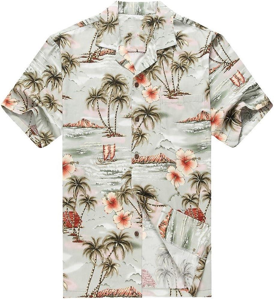 Hecho en Hawaii Camisa Hawaiana de los Hombres Camisa Hawaiana S Palmas Flores Casas en Gros: Amazon.es: Ropa y accesorios