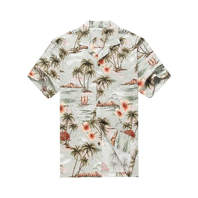 Hecho en Hawaii Camisa Hawaiana de los Hombres Camisa Hawaiana Palmas Flores Casas en Gros: Amazon.es: Ropa y accesorios