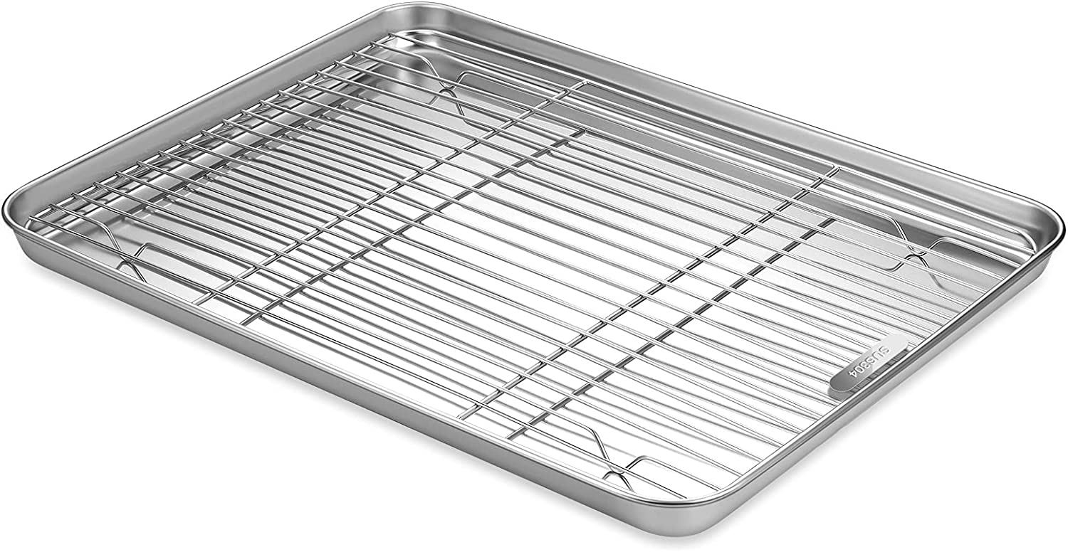 Qiaogell Baking Sheet With Wire Rack Set 304(18/8) Food-grade Stainless Steel Cookie Tray / Half Sheet Pan with Cooling Rack Oven,Nonstick Baking Tray Cookie Baking Pans Thick&Heavy Duty&Easy Clean