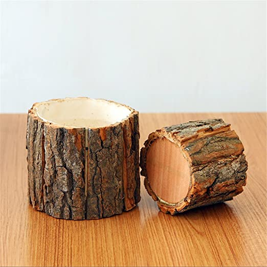 grande maceta de madera con corteza natural de sauce cactus peque/ño maceta de registro suculento decorativa maceta r/ústica artesanal hecha a mano contenedor