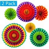 Set of 12 Vibrant Colors Hanging Paper Fans Rosettes Party Decorations Fiesta Party Supplies Photo Props for Wedding Birthday Baby Shower Event (Style 1)