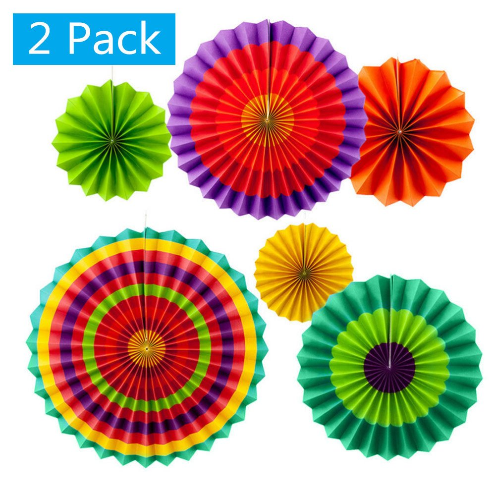 Set of 12 Vibrant Colorful Hanging Paper Fans Rosettes Party Decorations Fiesta Party Supplies Photo Props for Wedding Birthday Baby Shower Event (Style 1) by Lansian