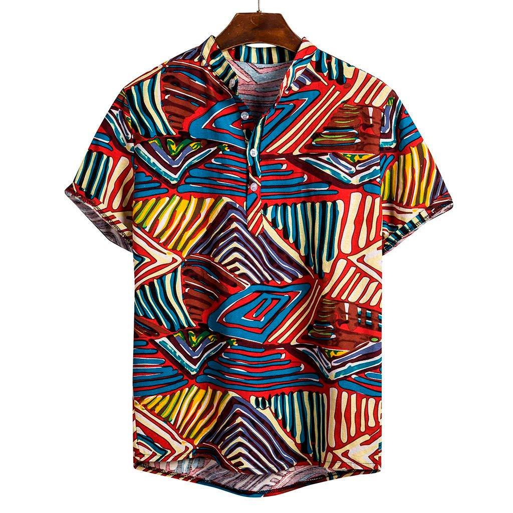 MIS1950s Mens Hawaiian Shirt,Cotton Linen,Mens Short Sleeve Printing Casual Button Up Lapel T Shirt Fit Slim Top