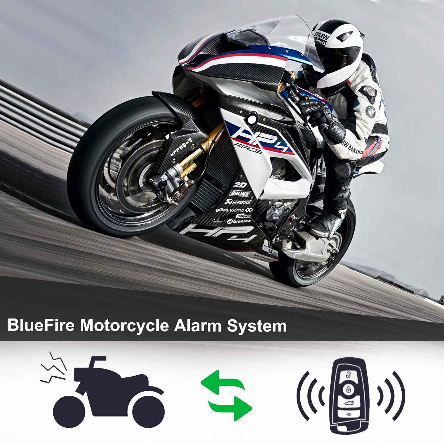 BlueFire Motorcycle Security Kit Alarm System Anti-Hijacking Cutting Off Remote Engine Start Arming Disarming
