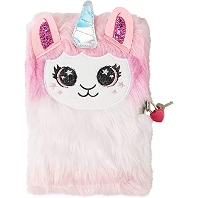 Tri-Coastal Design Lilly Llama Unicorn Fuzzy Faux Fur Jouranl Diary with Lock, Pink: Toys & Games
