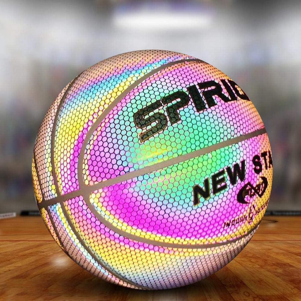 Le Basket-Ball en Caoutchouc Ballon de Basket Lumineux r/éfl/échissant en PU Basket-Ball Lumineux R/éfl/échissant Incandescent avec Sac de Transport et Pompe Taille