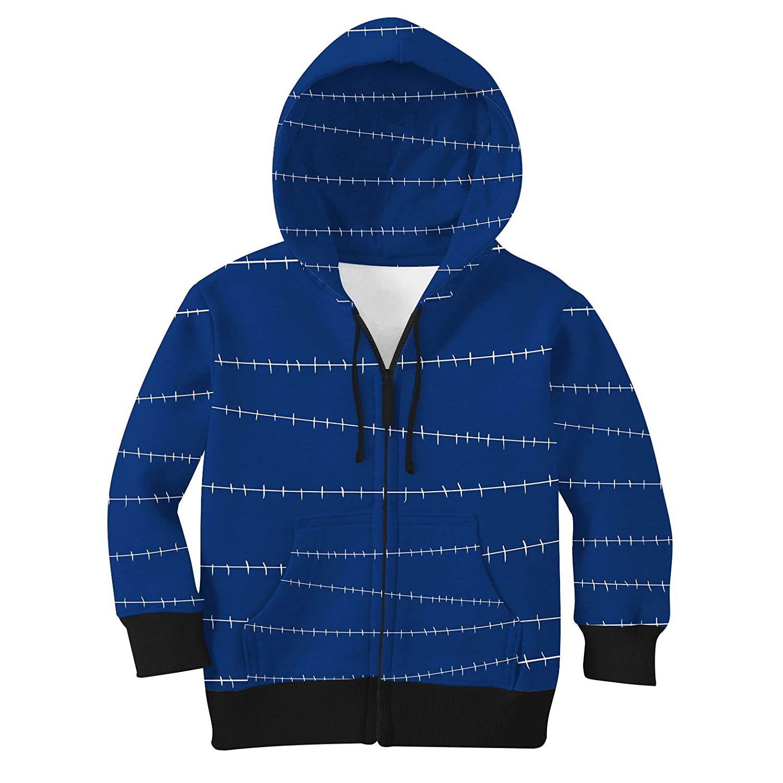 Navy 10 Stitches Jack Skellington Inspired Kids Zip Up Hoodie Unisex