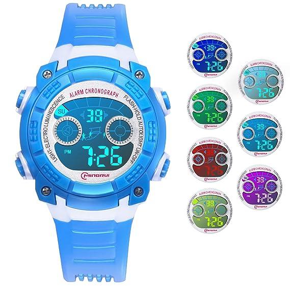 Reloj Digital para Niños Niñas, Reloj Infantil Deportivo 7 Colores Luz LED Multifuncional Impermeable 30 M Relojes de Pulsera para Exteriores con ...